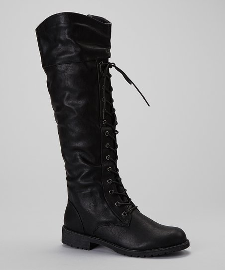 Black Lug Flat Boot