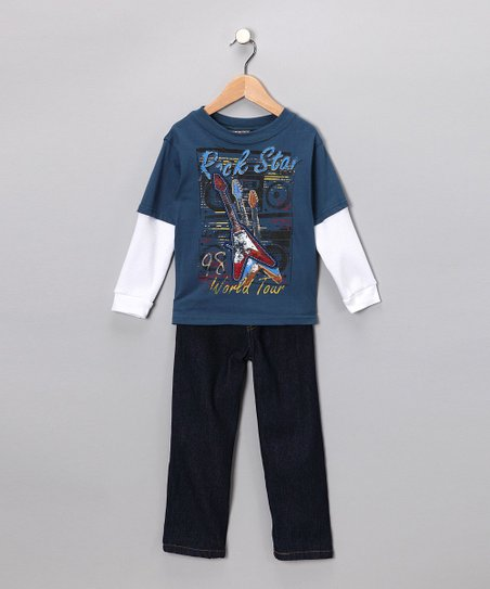 Blue Rockstar Layered Tee & Jeans - Toddler
