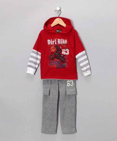 Red 'Dirt Bike' Layered Hooded Tee & Pants - Toddler