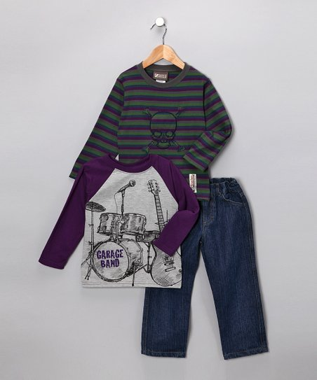 Purple 'Garage Band' Pants Set - Toddler