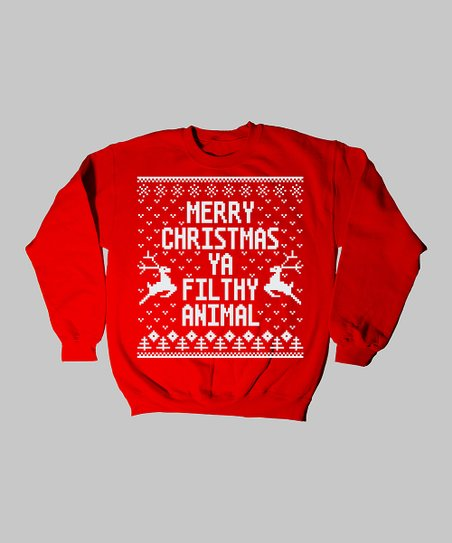 Red 'Merry Christmas Ya Filthy Animal' Sweatshirt - Kids
