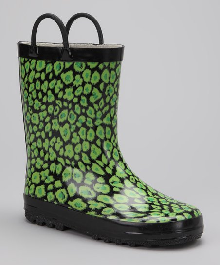 Green & Black Leopard Rain Boot