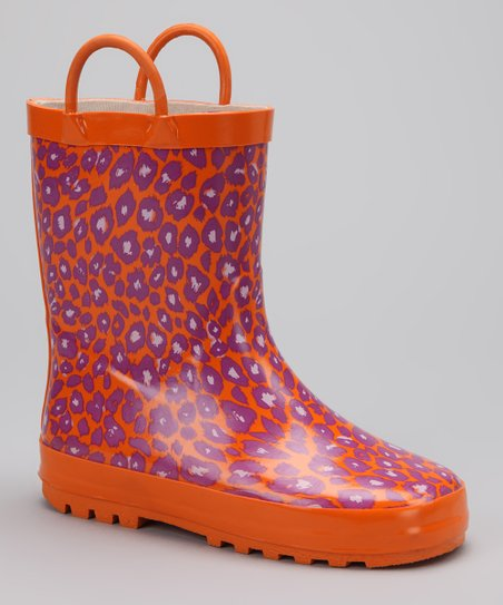 Orange &amp; Purple Leopard Rain Boot