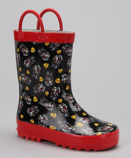 Black Fire Truck Rain Boot