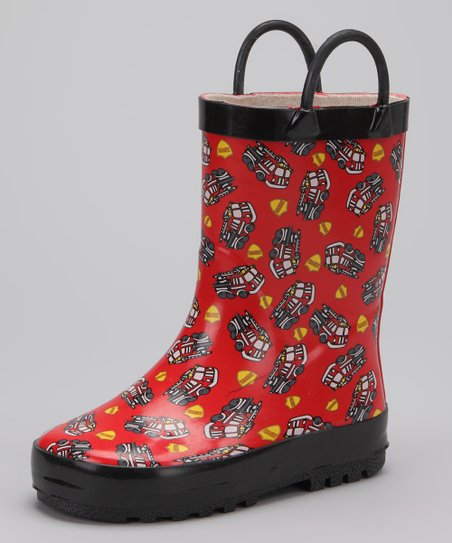 Red Fire Truck Rain Boot