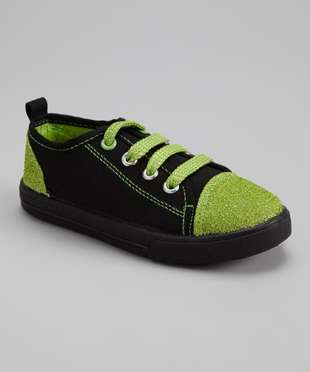 Black & Green Glitter Slip-On Sneaker