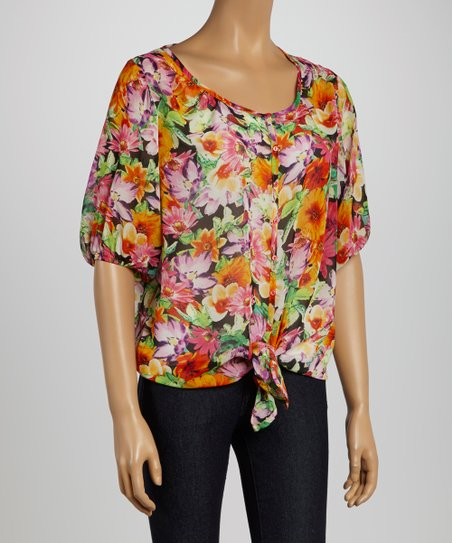 Black & Gold Floral Tie-Front Top