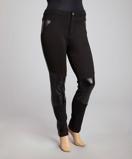 Black Faux Leather-Trim Skinny Pants - Plus