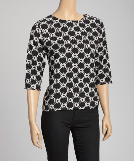 Black & White Geometric Top