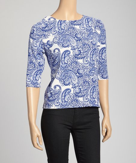 Blue & White Paisley Top