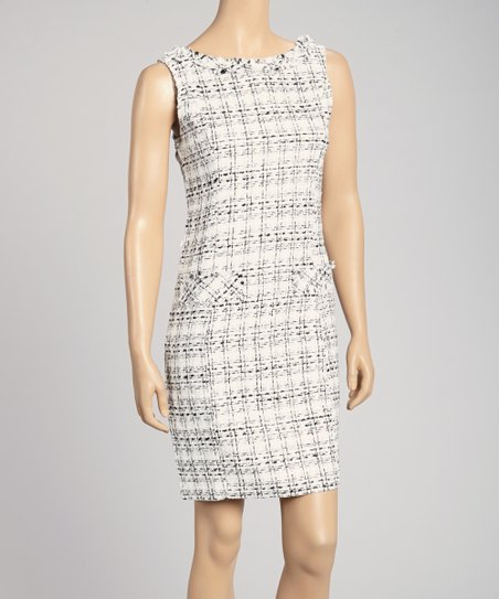 White Boucle Sheath Dress
