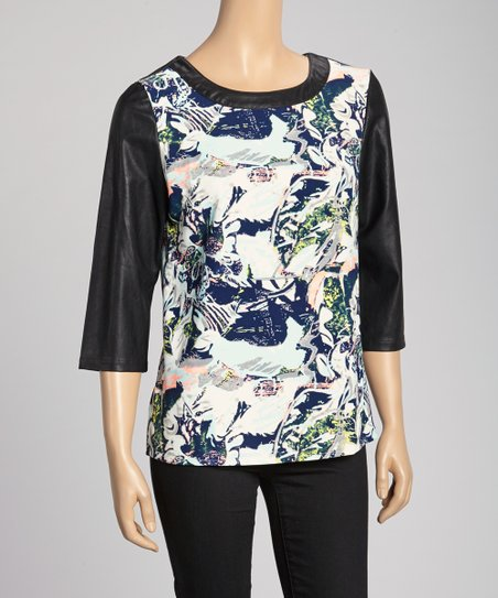 Peach & Navy Abstract Faux Leather Top