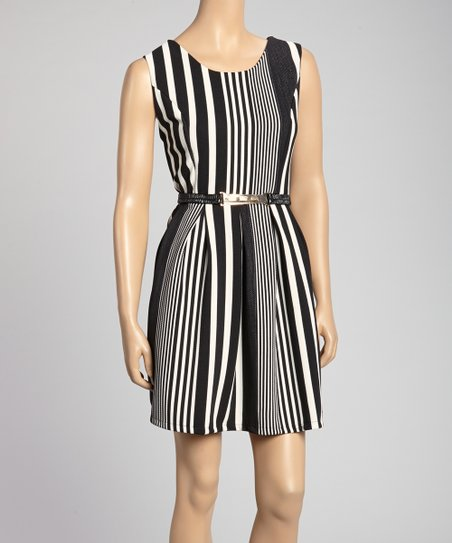 Black & White Vertical Stripe Belted A-Line Dress