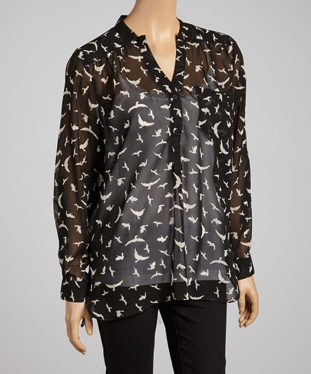 Black & White Bird Sheer Button-Up