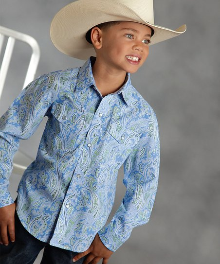 Blue Paisley Button-Up - Boys