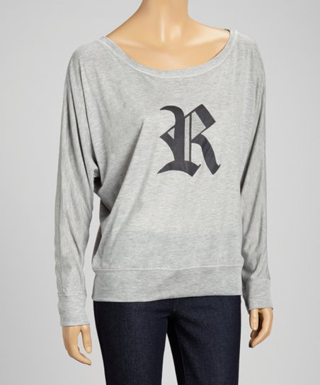 Gray Old English 'R' Dolman Top