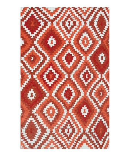 Red & White Southwestern Rug