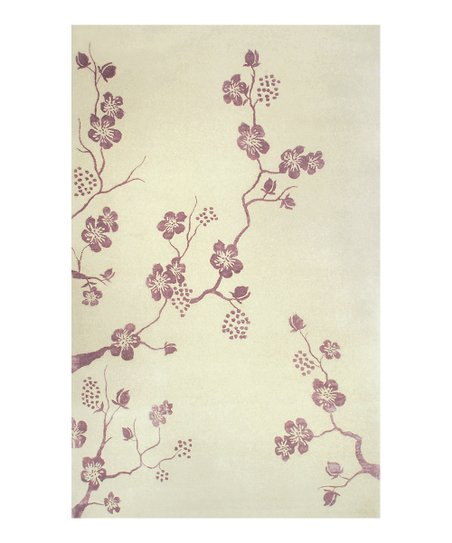 Cream & Purple Floral Fantasy Wool Rug