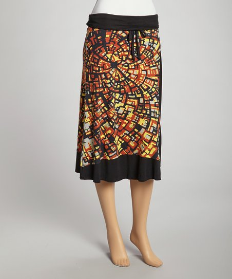 Orange & Black Abstract Swirl Tabitha Skirt