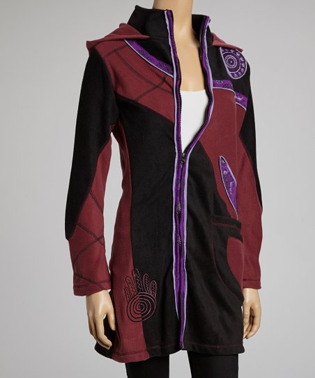 Wine & Purple Patchwork Fleece Jacket