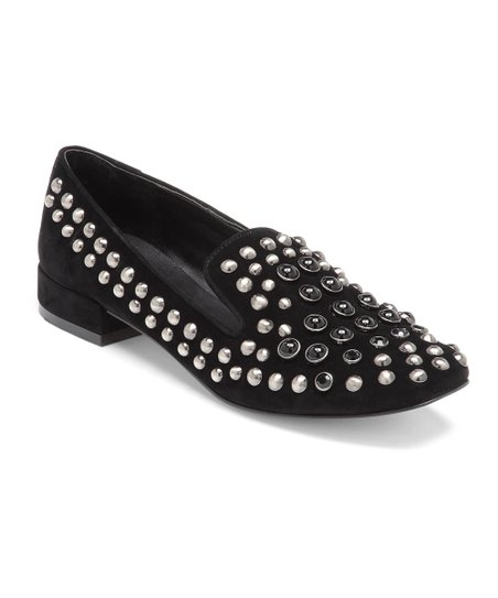 Black Stud Carrie Flat