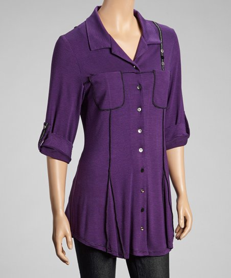 Purple Stripe Button-Up Tunic