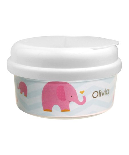 Sweet Pink Elephant Personalized Snack Container