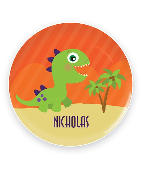 Cute Baby Dinosaur Personalized Plate