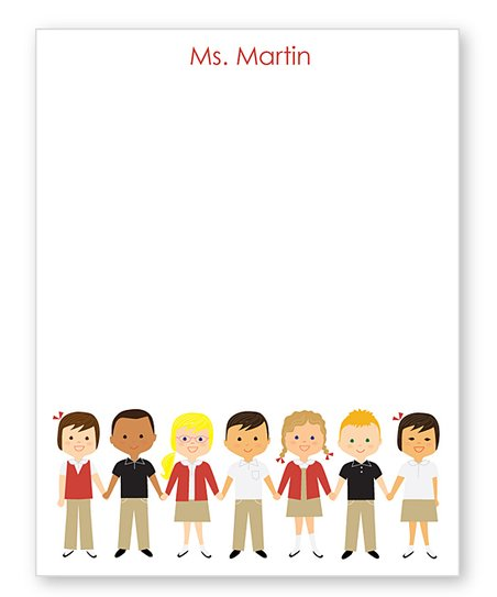 Red School Uniform Personalized Notepad