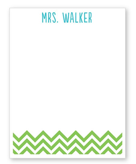 Green Zigzag Personalized Notepad