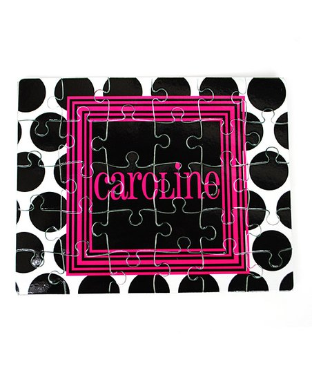 Black & Pink Dot Personalized Puzzle