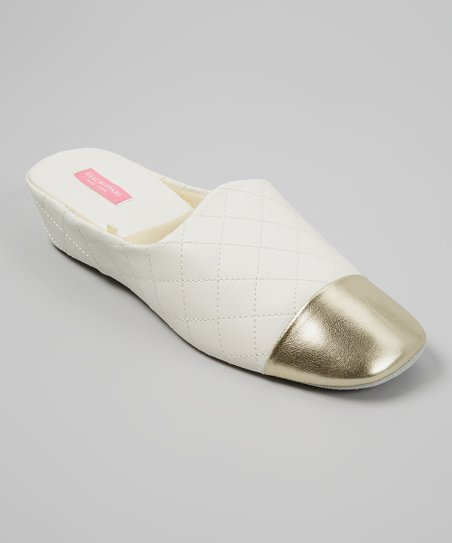 White & Gold Val Slipper