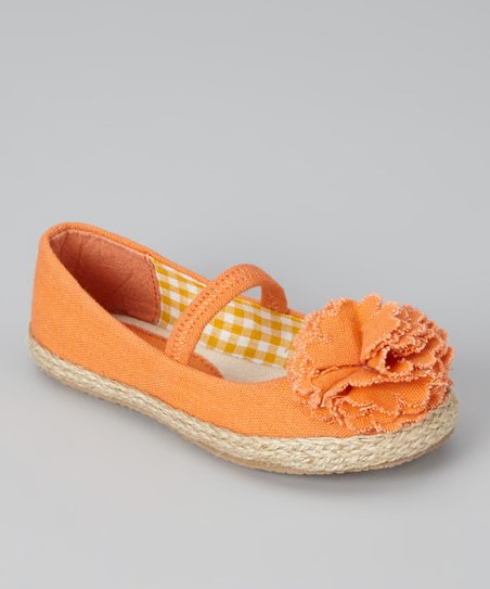 Orange Lulu Strap Flat - Girls