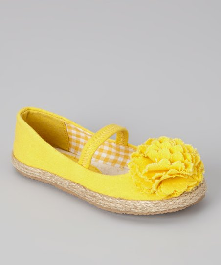 Yellow Lulu Strap Flat - Girls