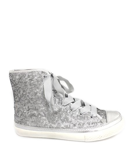 Silver Sparkle High-Top Sneaker - Women