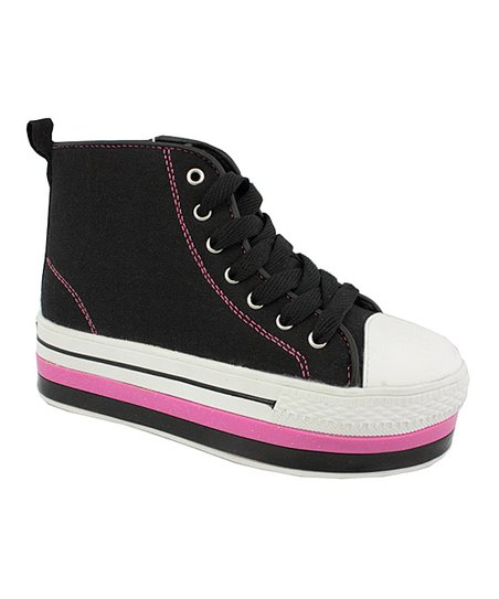 Black & Hot Pink Spice Platform Sneaker - Kids