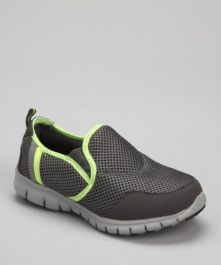 Gray & Neon Green Splashers Slip-On Shoe - Kids