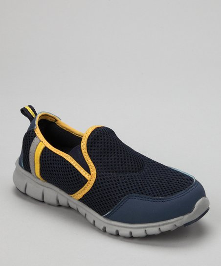 Navy & Neon Orange Splashers Slip-On Shoe - Kids