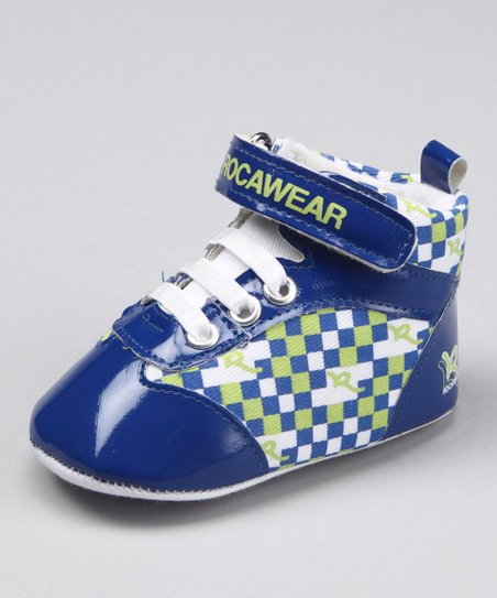 Blue & Green Checkered Hi-Top Sneaker