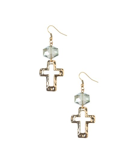Antique Gold Jewel Cross Earrings