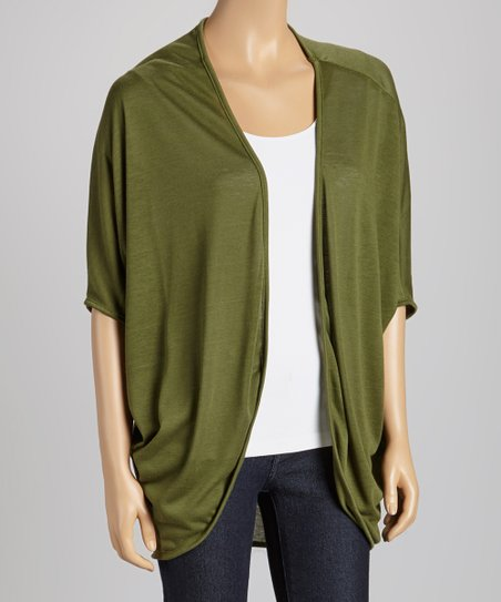 Olive Short-Sleeve Open Cardigan