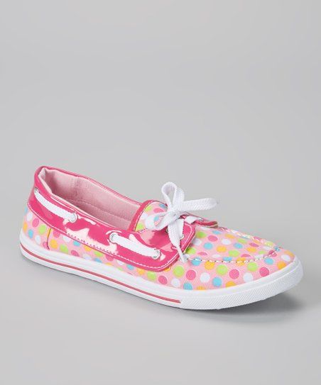 Light Pink & Green Polka Dots Boat Shoe