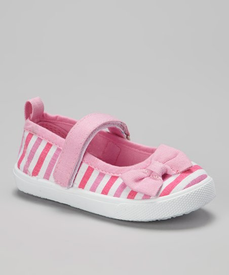 Light Pink & White Stripe Mary Jane Sneaker