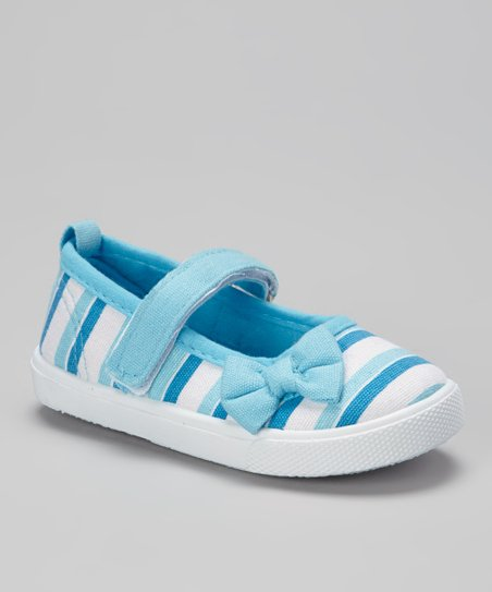 Light Blue & White Stripe Mary Jane Sneaker