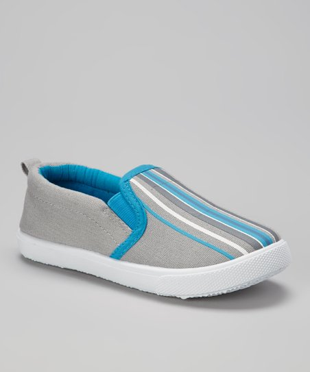 Gray & Blue Stripe Slip-On Sneaker