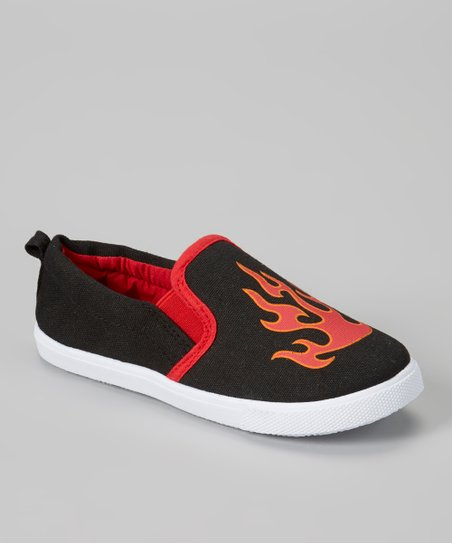 Black & Orange Flame Slip-On Sneaker
