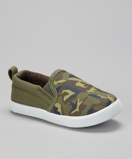 Olive & Brown Camo Slip-On Sneaker