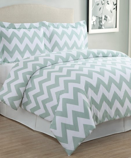 Sage Zigzag Duvet Cover Set