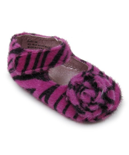 Fuchsia & Zebra Rosette Faux Fur Mary Jane