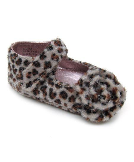 Leopard Rosette Faux Fur Mary Jane